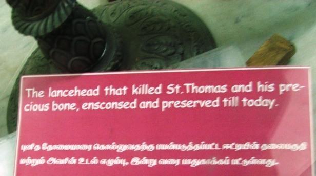 5, Chennai, Catedrala Sf Ap Toma, varful de lance cu care a fost ucis.